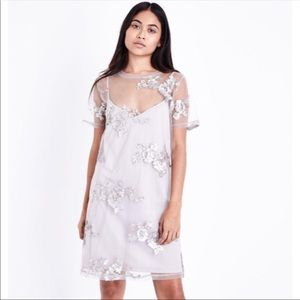 ASOS Silver Floral Sequin Mesh Overlay Dress
